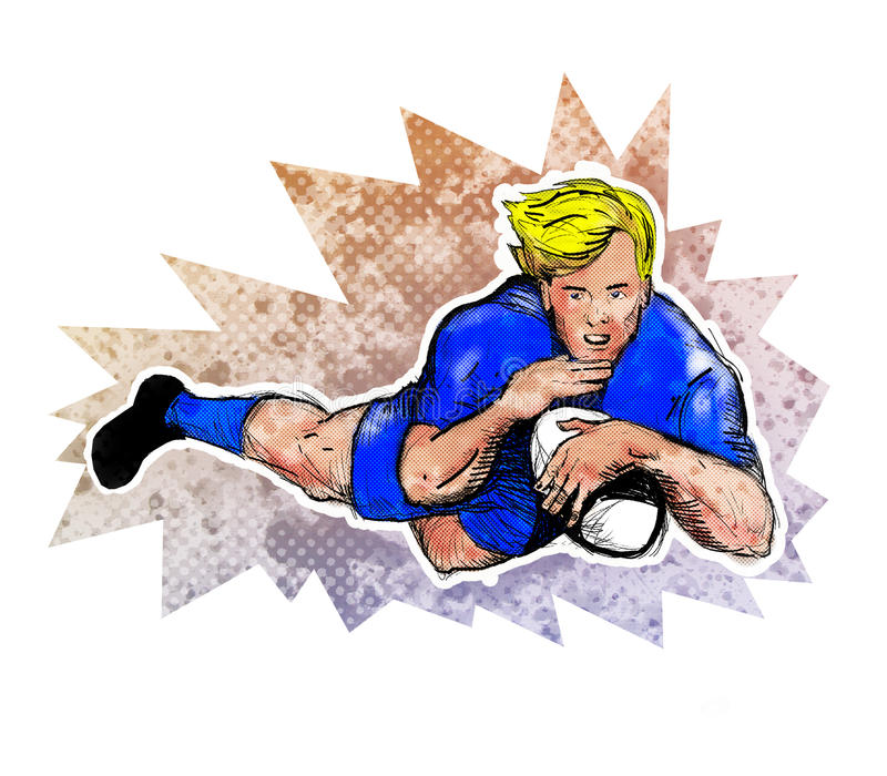 Download Rugby Player Score A Try Ball Stock Illustration - Image: 18959675