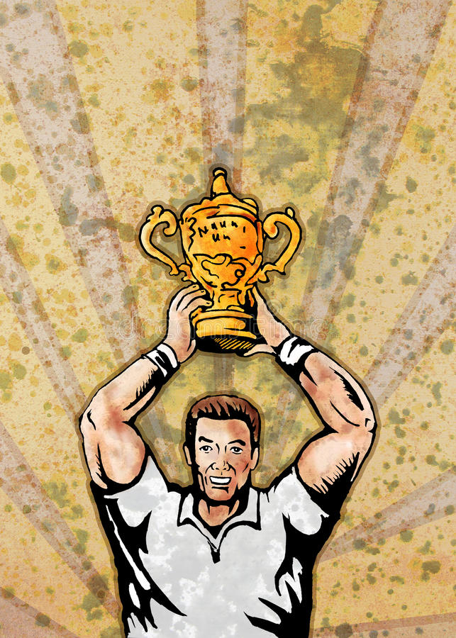 Rugby player trophy world cup royalty free illustration