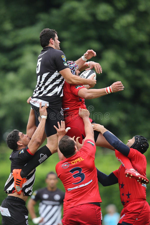 Rugby players fighting for the ball stock photos