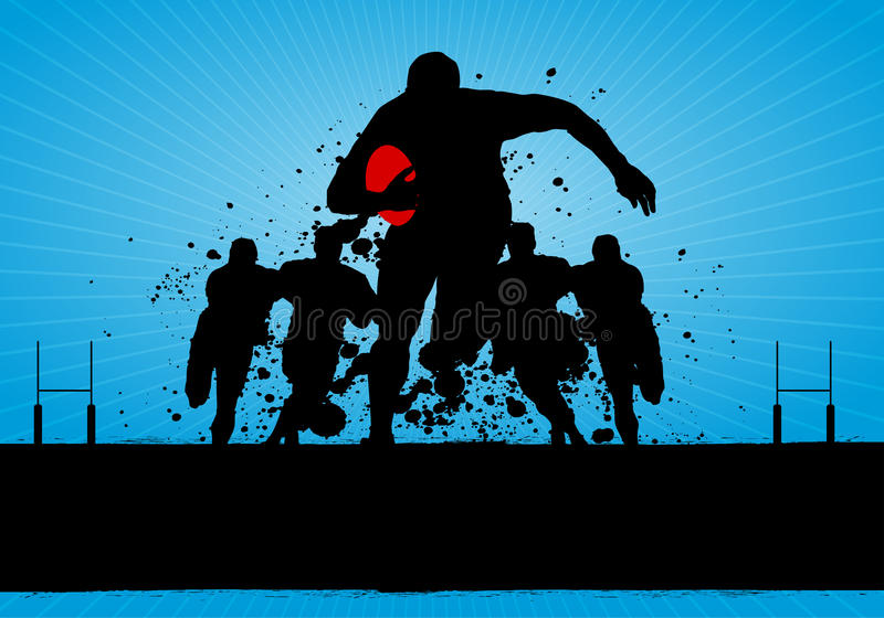Rugby Poster. Abstract Dirty Rugby Match Background stock illustration