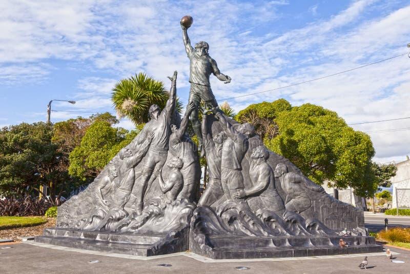 Rugby puchar świata rzeźba Wellington Nowa Zelandia fotografia stock
