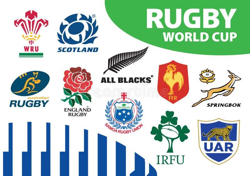 Rugby pucharu świata drużyny Zrzeszeniowi logowie