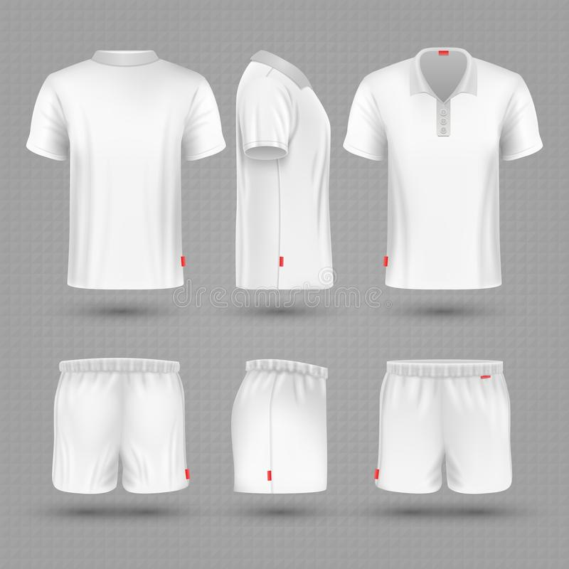 Rugby shorts and t shirt white blank man sport uniform vector set stock illustration