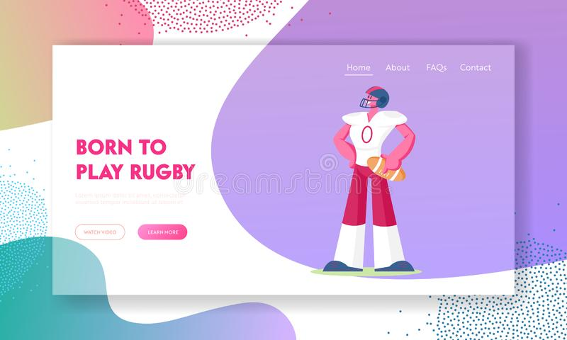 Rugby Sports Competition Website Landing Page. American Football Player in Professional Uniform Helmet Hold Ball royalty free illustration
