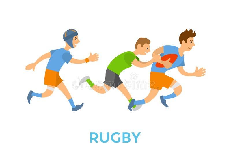 Rugby sporty, młodość bieg z piłką i cyzelatorstwo, royalty ilustracja