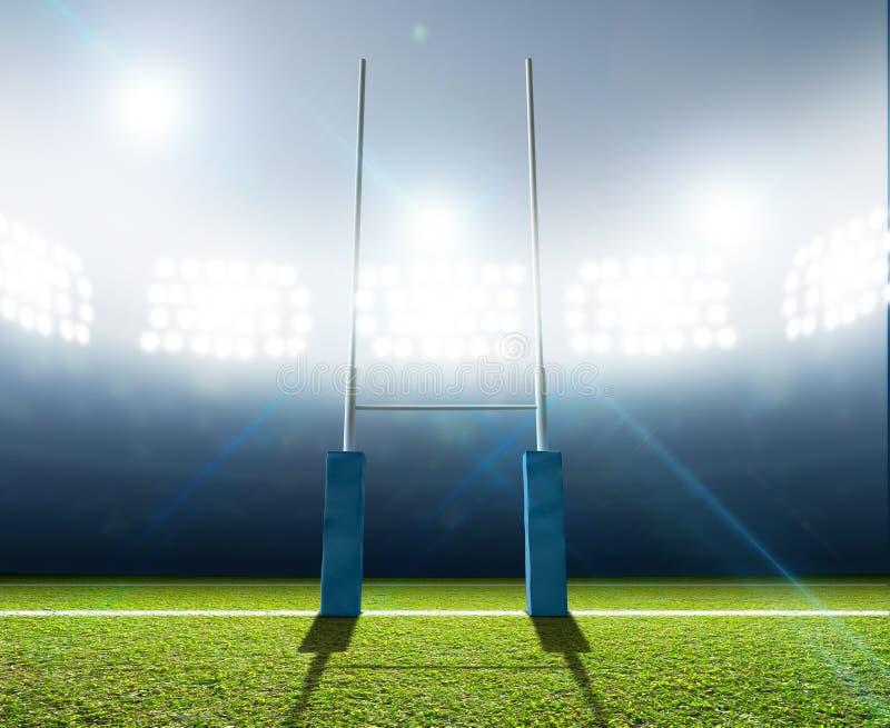 Rugby-Stadion und Beiträge lizenzfreies stockfoto