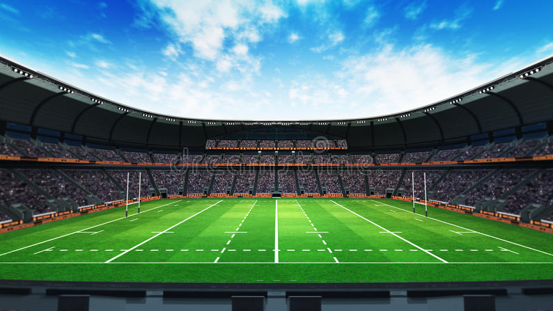 Rugby stadium with fans and green grass at daylight stock illustration
