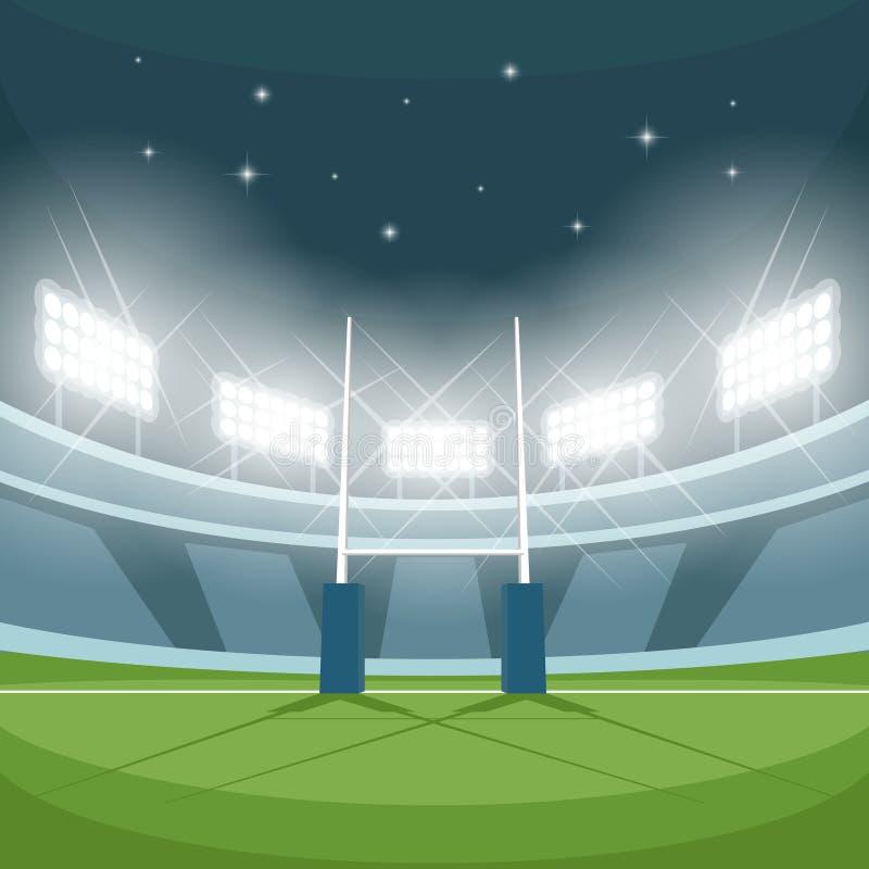 Stadium Lights Svg: Rugby Stadium With Lights At Night Stock Vector