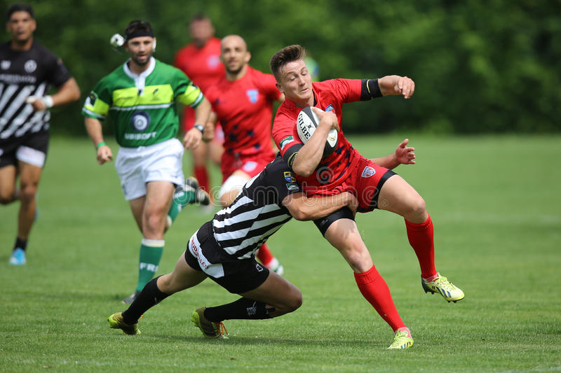 Rugby tackle stock photography