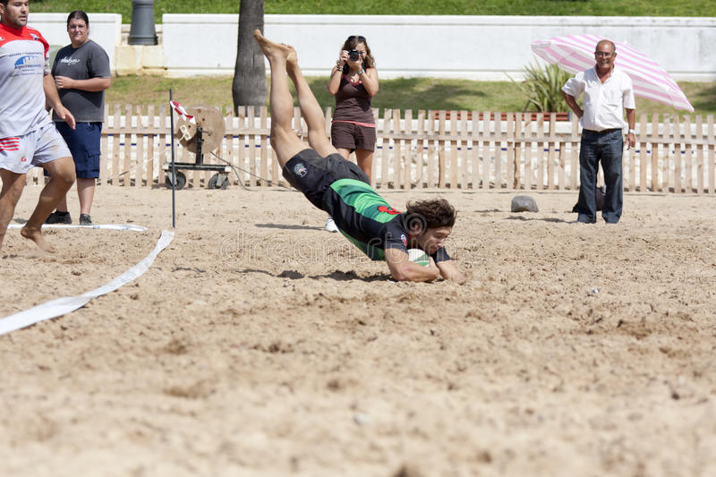 Rugby touchdown. Annotation in a game of beach rugby stock photos