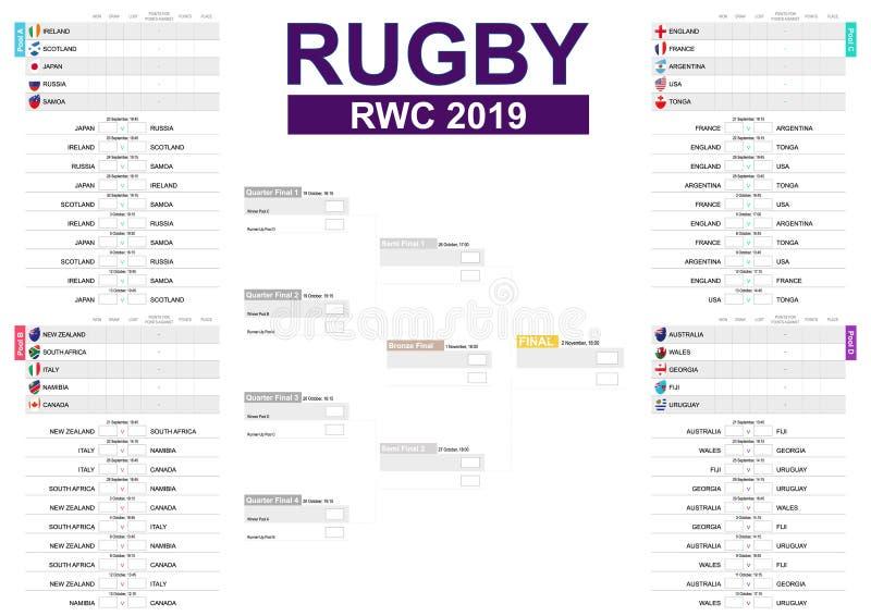 Rugby turnieju rozkład na białym tle z flagami wszystkie uczestnicy ilustracji