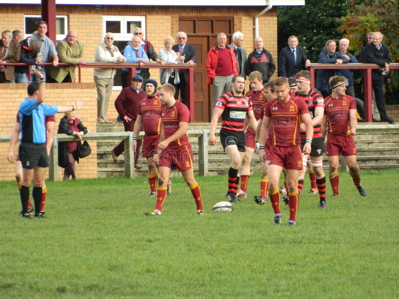 Rugby Union. Scrum half attacking possession running towards the opposition line Yorkshire YRFU stock images