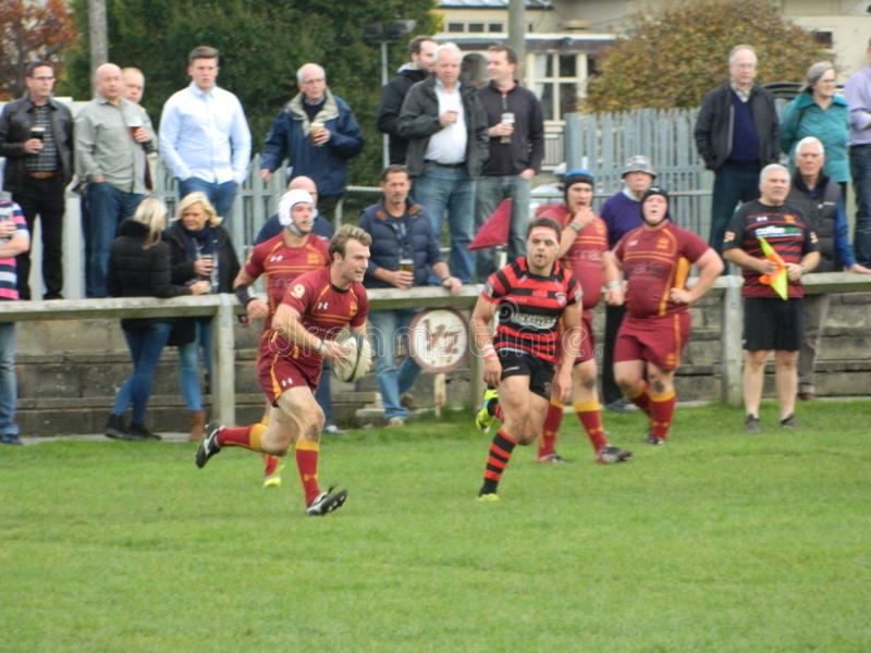 Rugby Union. Srum half attacking possession running towards the opposition line royalty free stock photo