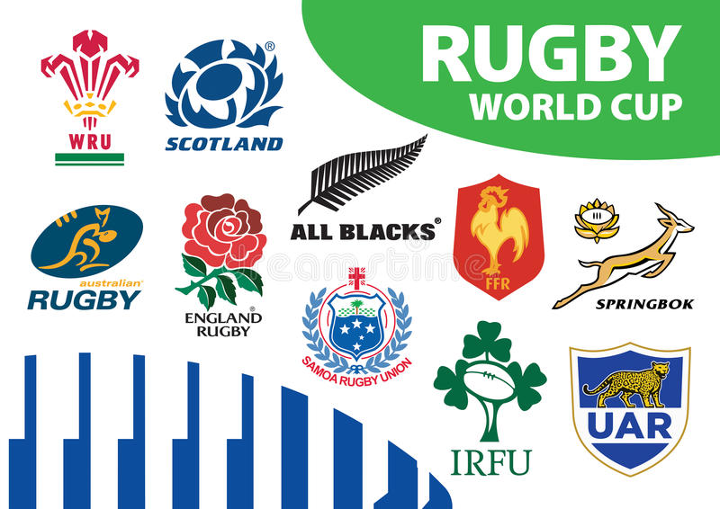 Rugby-Verbands-Weltcup Team Logos vektor abbildung