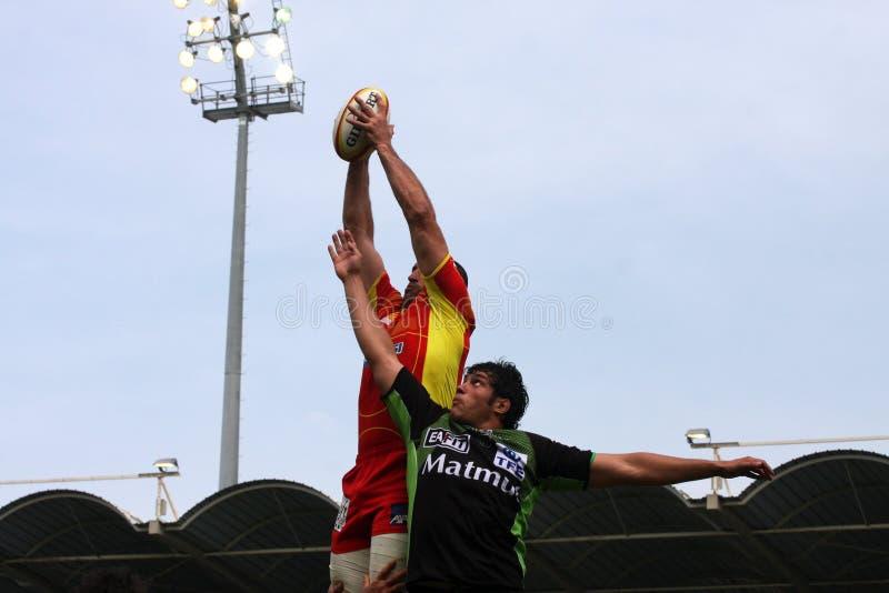 Rugbyabgleichung USAP der Oberseite 14 gegen Montauban stockfotografie