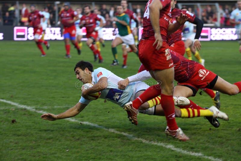 Rugbyabgleichung USAP der Oberseite 14 gegen Montpellier stockbilder