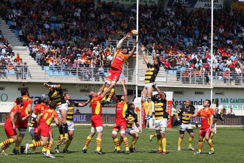 Rugbyabgleichung USAP der Oberseite 14 gegen Stade Montois lizenzfreies stockfoto