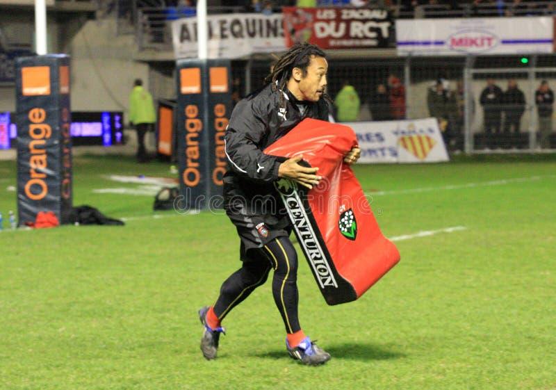 Rugbyabgleichung USAP der Oberseite 14 gegen Toulon stockbild