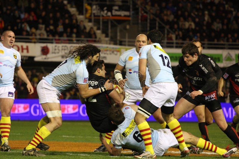 Rugbyabgleichung USAP der Oberseite 14 gegen Toulouse stockfotos