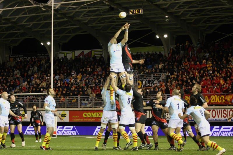 Rugbyabgleichung USAP der Oberseite 14 gegen Toulouse lizenzfreie stockfotografie