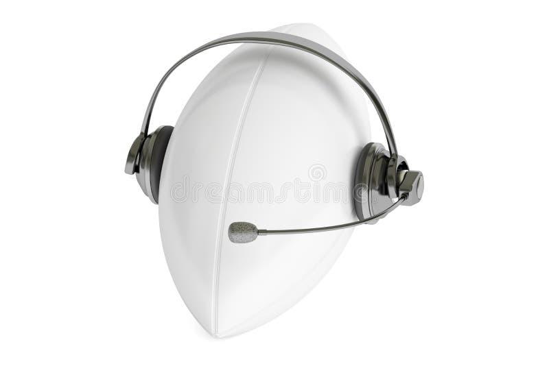 Rugbyball 3D mit Kopfhörer oder Kopfhörern lizenzfreie abbildung