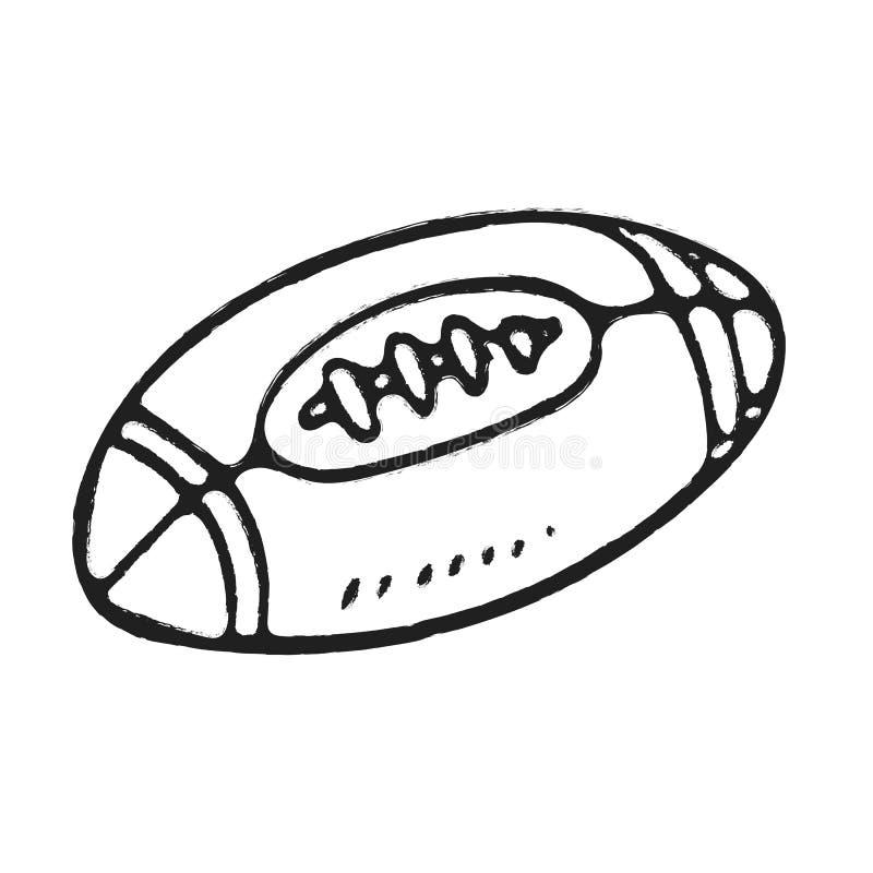 Rugbyball des Handabgehobenen betrages oder amerikanischer Fußball lizenzfreie abbildung
