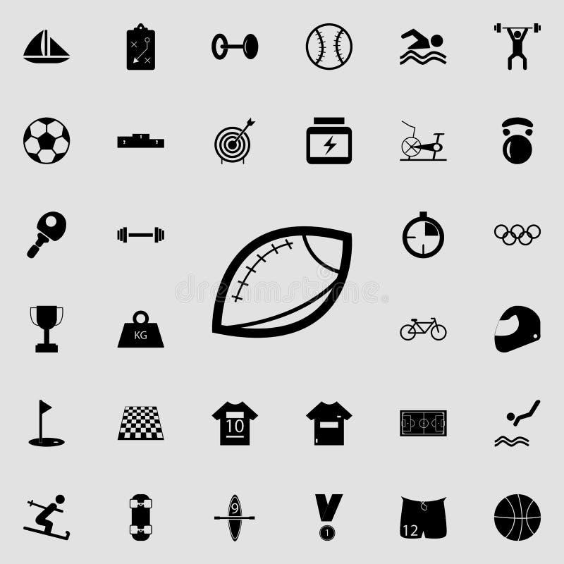 Rugbyball-Ikone Tragen Sie Ikonenuniversalsatz für Netz und Mobile zur Schau vektor abbildung
