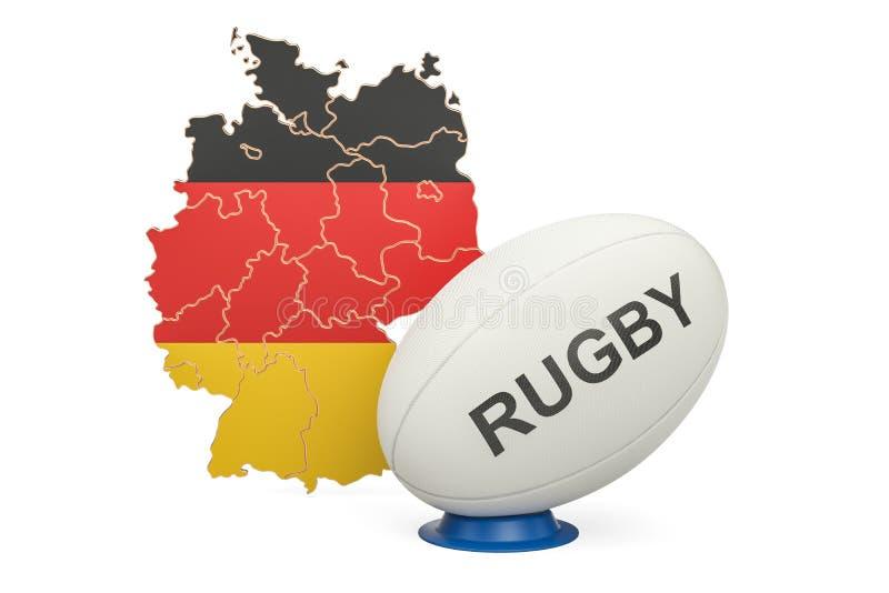 Rugbyball mit Flagge von Deutschland, Wiedergabe 3D lizenzfreie abbildung