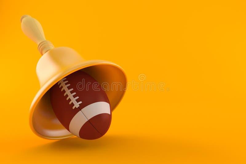 Rugbyball mit Handglocke stock abbildung