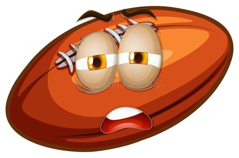 Download Rugbyball z smutną twarzą ilustracja wektor. Ilustracja złożonej z obrazek - 57657517