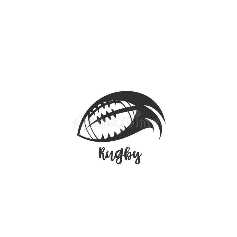 Rugbyballfliegen durch die Luftvektorillustration lizenzfreie abbildung