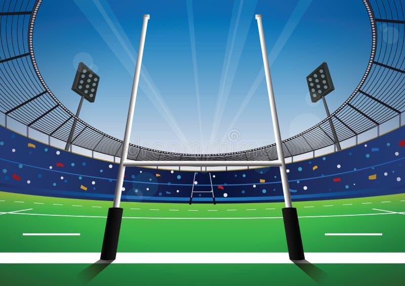 Rugbyfält med ljus stadion royaltyfri illustrationer