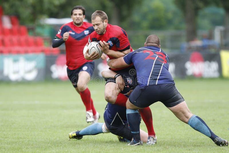 Rugbyhandling royaltyfri bild