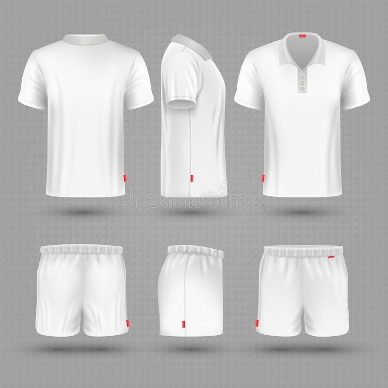 Rugbykortslutningar och vektorn för sport för man för mellanrum för t-skjortavit den enhetliga ställde in stock illustrationer
