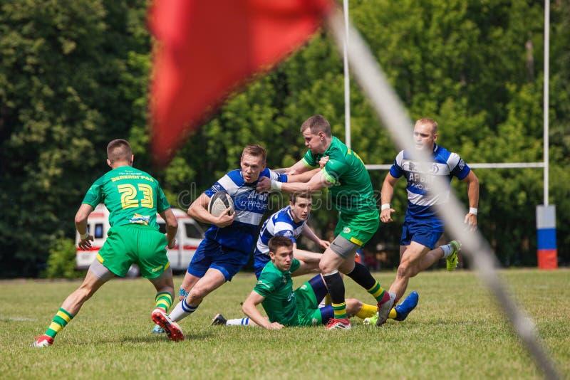 Rugbymatchdynamo - Zelenograd fotografering för bildbyråer
