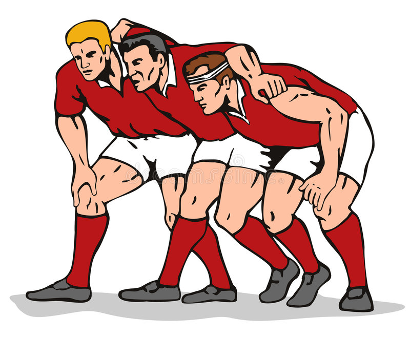 rugbyscrum royaltyfri illustrationer