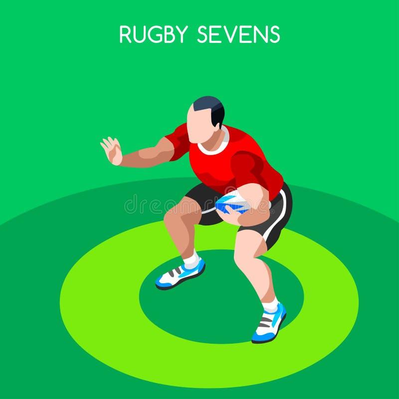 RugbySevens sommar spelar symbolsuppsättningen isometrisk idrottsman nen för spelare 3D royaltyfri illustrationer