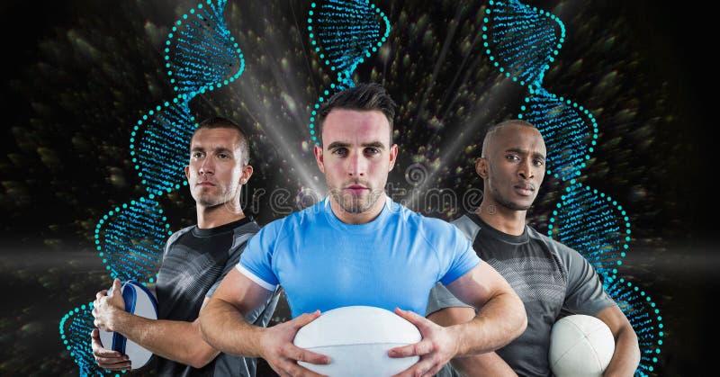 Rugbyspelare med blåa DNAkedjor i en svart med ljusbakgrund royaltyfri foto