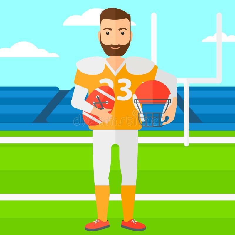 Rugbyspelare med bollen och hjälm i händer vektor illustrationer