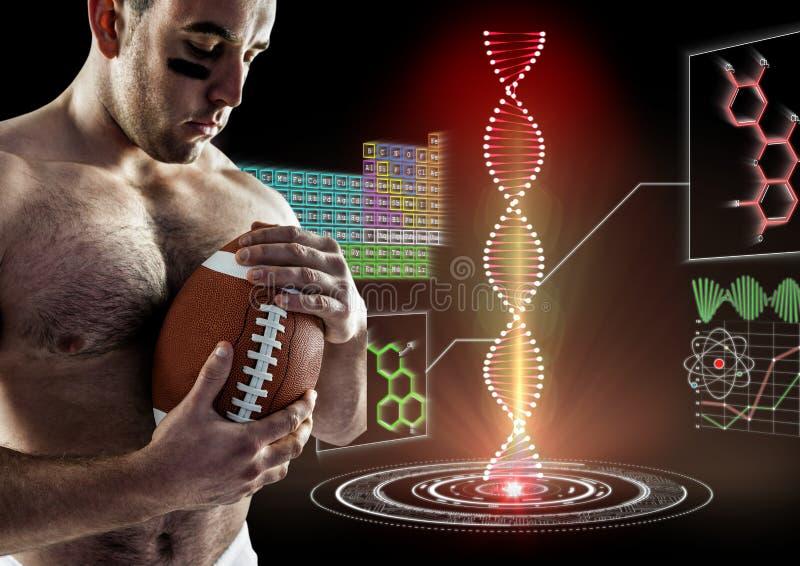 rugbyspelare med den futuristiska dna-kedjan bak honom Svart bakgrund arkivfoto