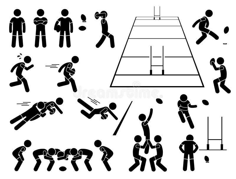 Rugbyspelarehandlingar poserar Cliparts royaltyfri illustrationer