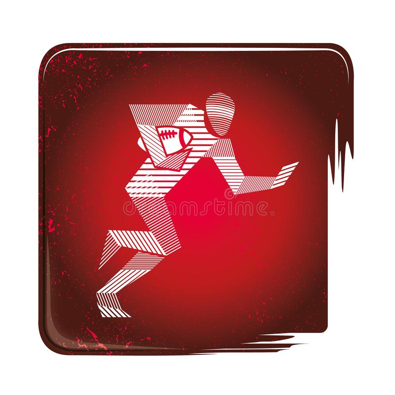 Rugbyspelarespring med bollen, strimmig symbol stock illustrationer