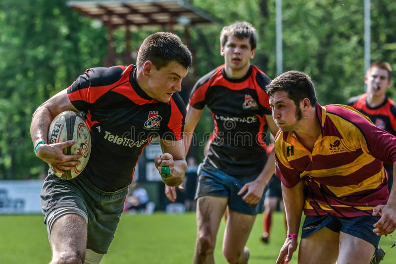 Rugbyspiel stockbild