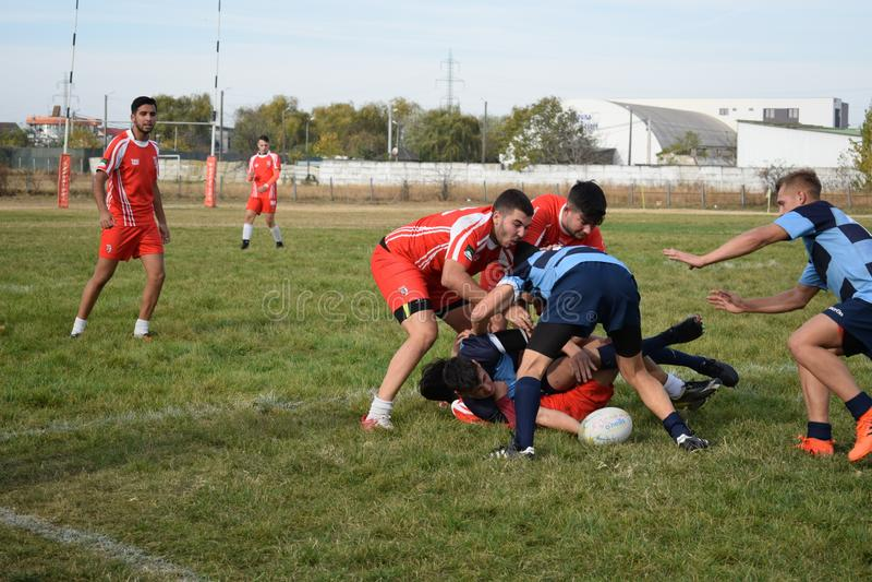 Rugbyspieler, die für Ball kämpfen stockbild
