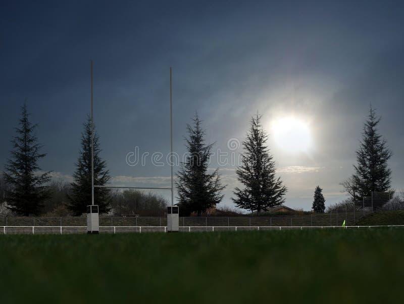Rugbystadionssonne stockfotografie