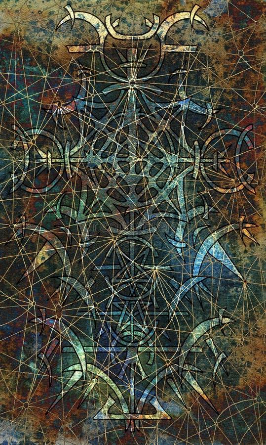 Rugdekkingsontwerp van tarotkaart 20 stock illustratie