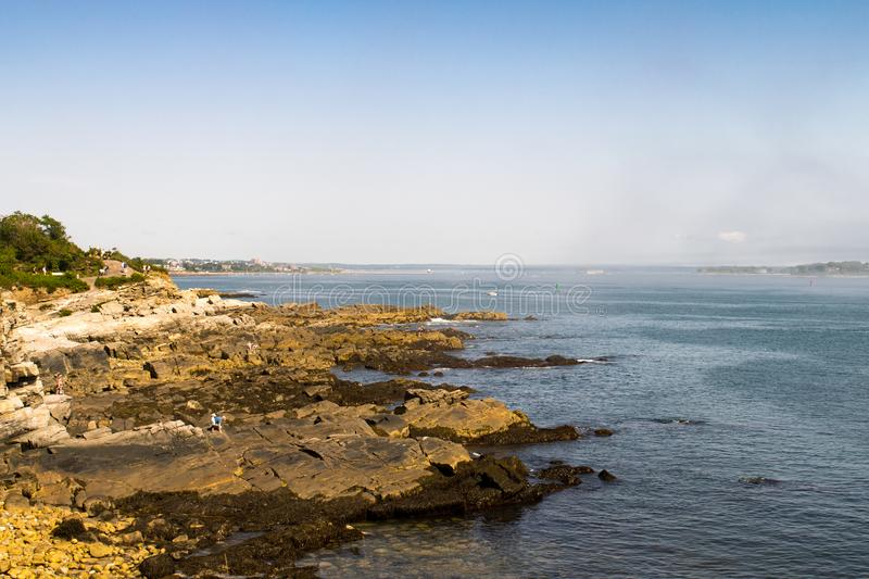 Rugged beach and Atlantic Ocean near Cape Elizabeth Maine. Portland Maine, New England, United States. Scenic landscape and water view near Cape Elizabeth, Maine stock images