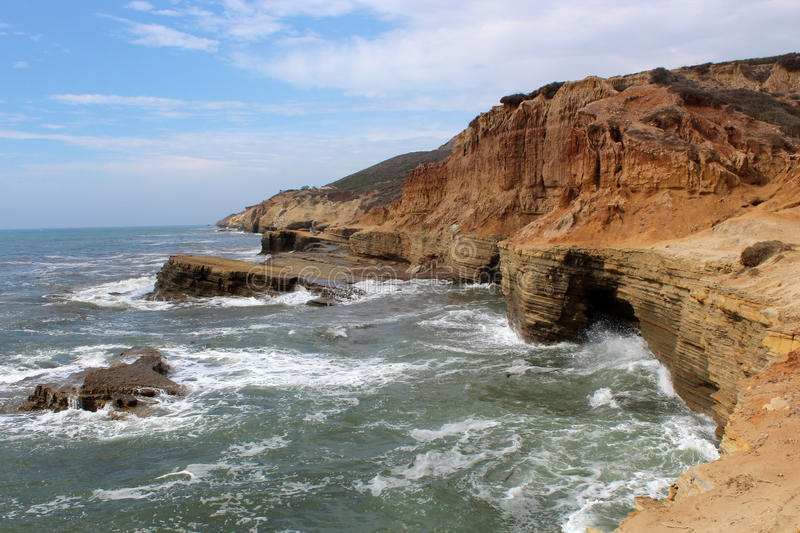 Rugged Coastline - Cabrillo National Monument. On the western side of Point Loma lies the rocky intertidal zone, a window into the ocean ecosystem that lies royalty free stock photos