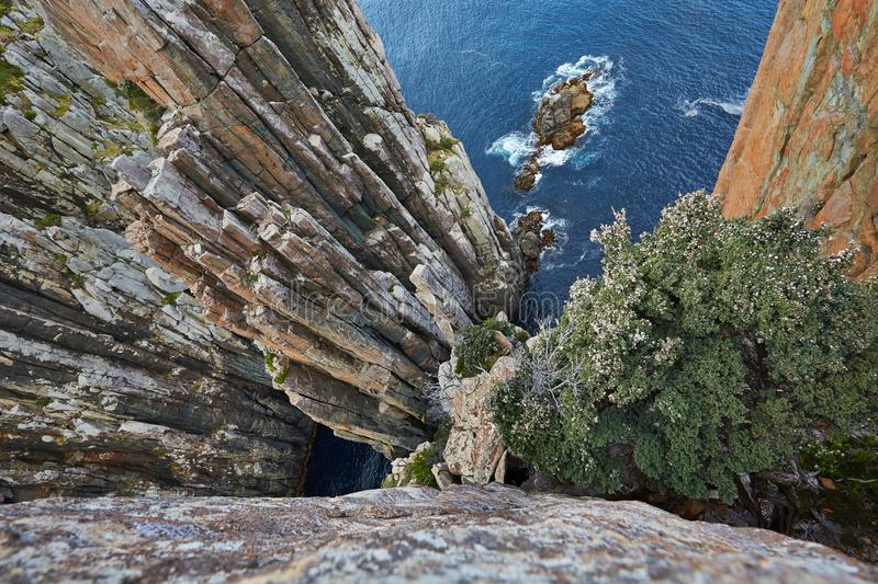 Rugged coastline cliffs stock images