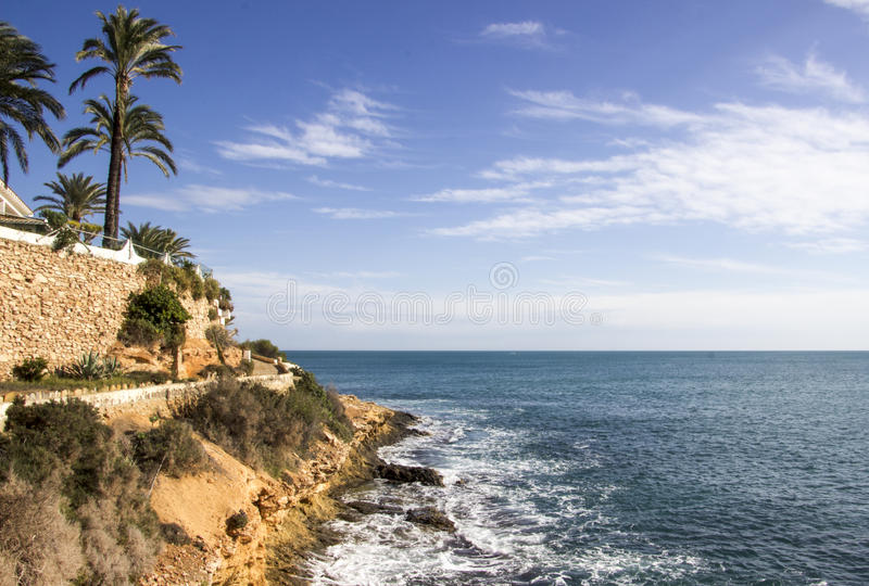 The Rugged Costa Blanca Coast. At Cabo Roig near Torrevieja royalty free stock images